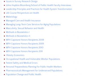 Hopkins Open Courseware